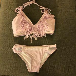 Two piece bikini with fringe